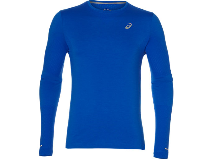 Front Top view of SEAMLESS LS, RACE BLUE HEATHER