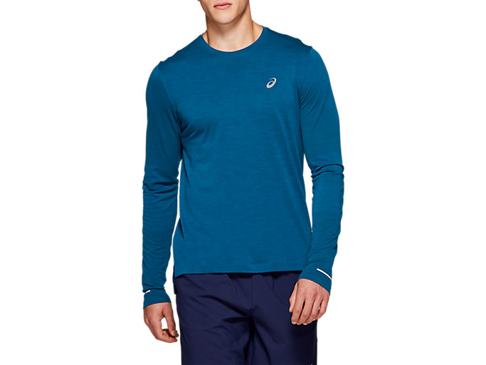 Front Top view of SEAMLESS LS, MAKO BLUE