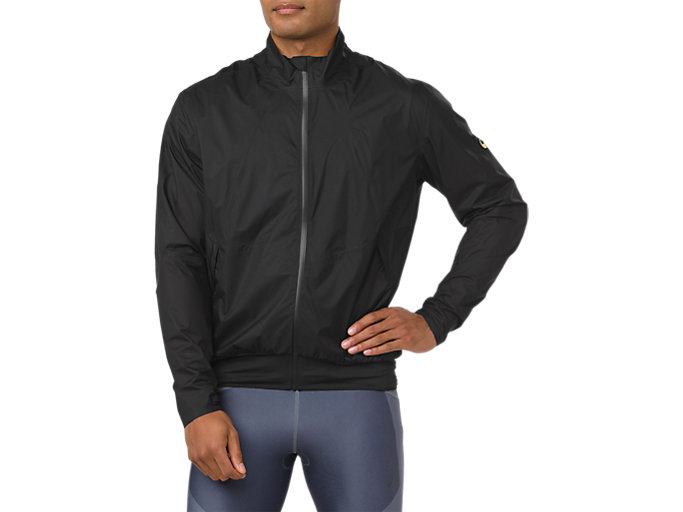 Front Top view of METARUN JACKET, PERFORMANCE BLACK