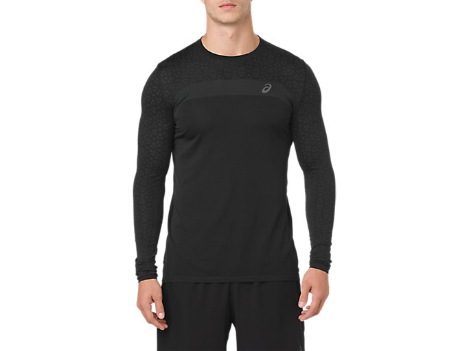 Men's Seamless Long Sleeve Texture   Performance Black   Long ...