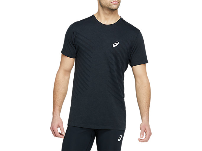 Alternative image view of SEAMLESS SS TOP, Dark Grey Heather/Performance Black