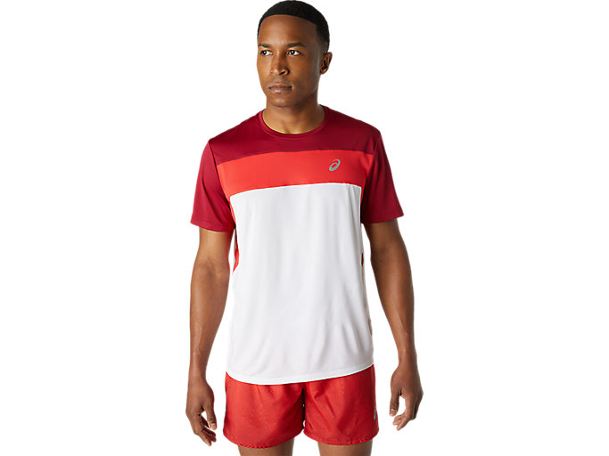 Alternative image view of RACE SS TOP, Brilliant White/Burgundy
