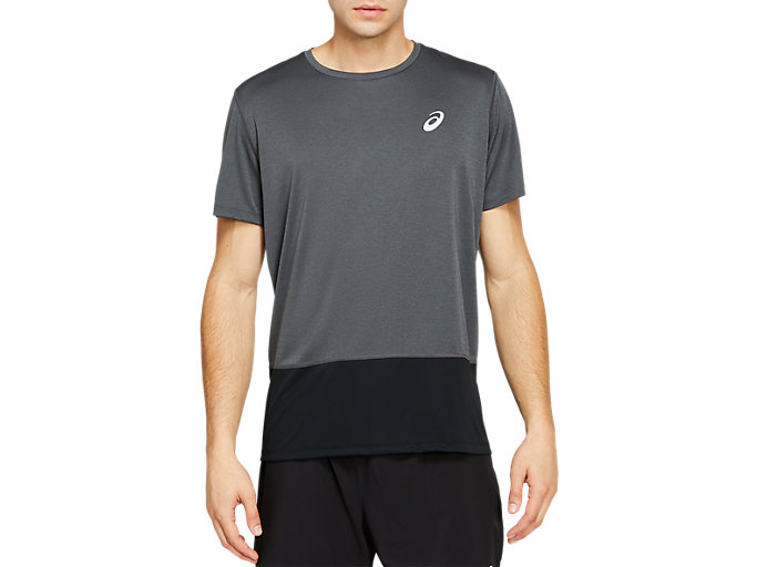 Front Top view of SPORT CLBL TEE, DARK GREY HEATHER/PERFORMANCE BLACK
