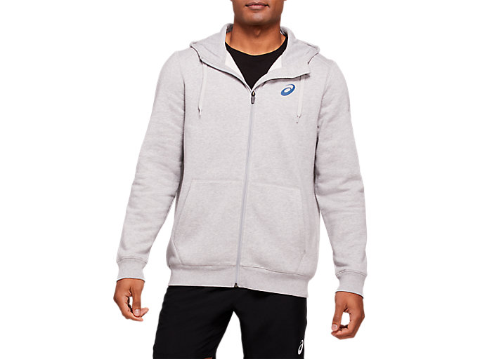 Alternative image view of PARIS FULL ZIP HOODIE MEN, MID GREY HEATHER