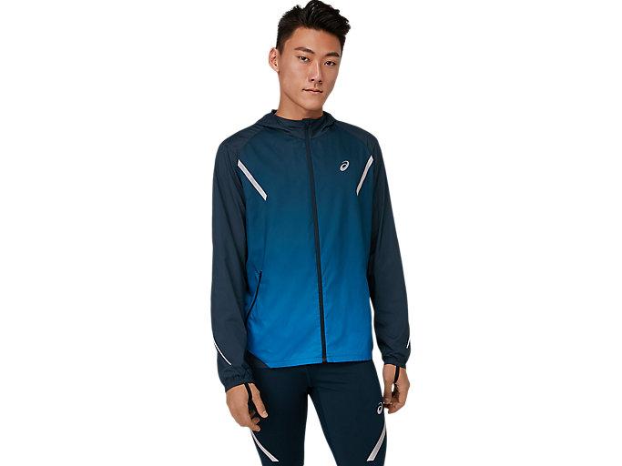 Alternative image view of ランニングジャケット(LITE-SHOW), フレンチブルー×エレクトリックブルー