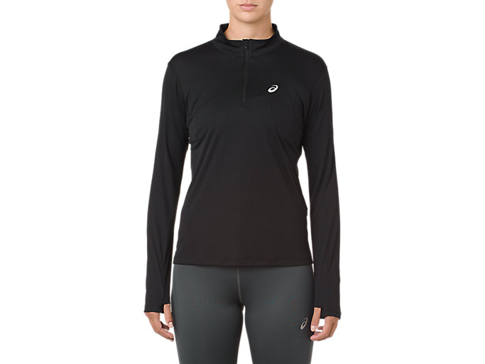 Alternative image view of SILVER LS 1/2 ZIP TOP, PERFORMANCE BLACK