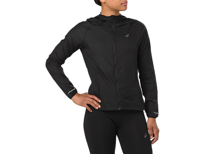 Front Top view of PACKABLE JACKET, PERFORMANCE BLACK