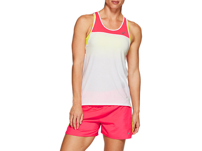Front Top view of LOOSE STRAPPY TANK, BRILLIANT WHITE / LASER PINK