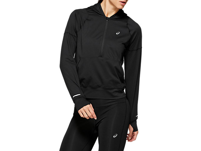 Front Top view of THERMOPOLIS 1/2 ZIP LS HOODIE, PERFORMANCE BLACK