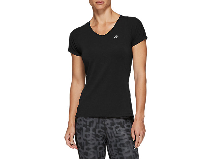 Alternative image view of V-NECK SS TOP, PERFORMANCE BLACK