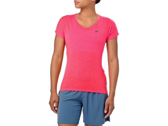 Alternative image view of V-NECK SS TOP, LASER PINK