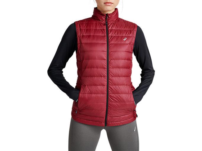 Women's ASICS Down Puffer Vest   CORDOVAN   Outerwear   ASICS