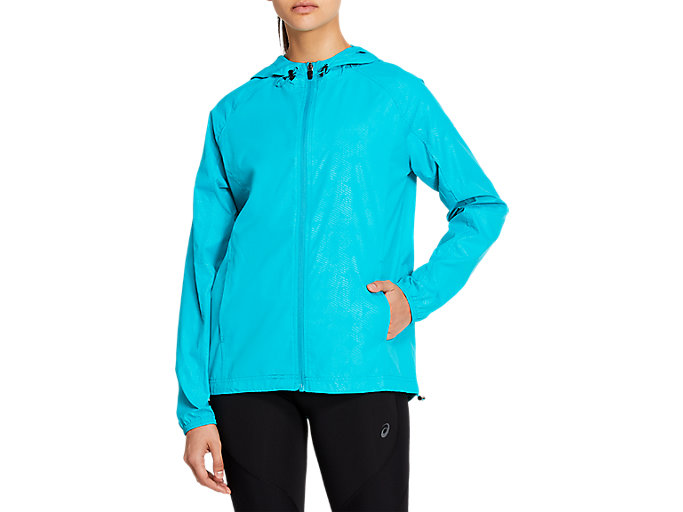 Pescador Personas mayores Sospechar  Women's Packable Jacket | Lagoon Embossed Linear Eclipse | Outerwear | ASICS