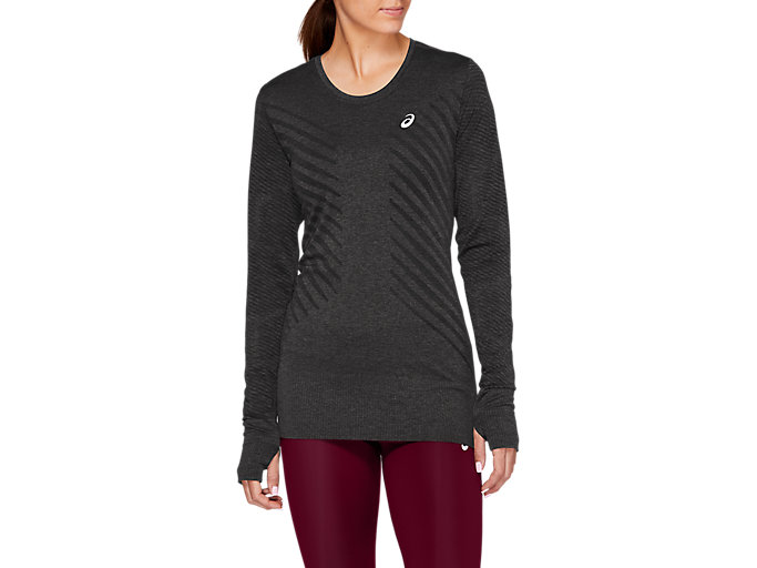 Alternative image view of SEAMLESS LS TOP, Dark Grey Heather/Performance Black