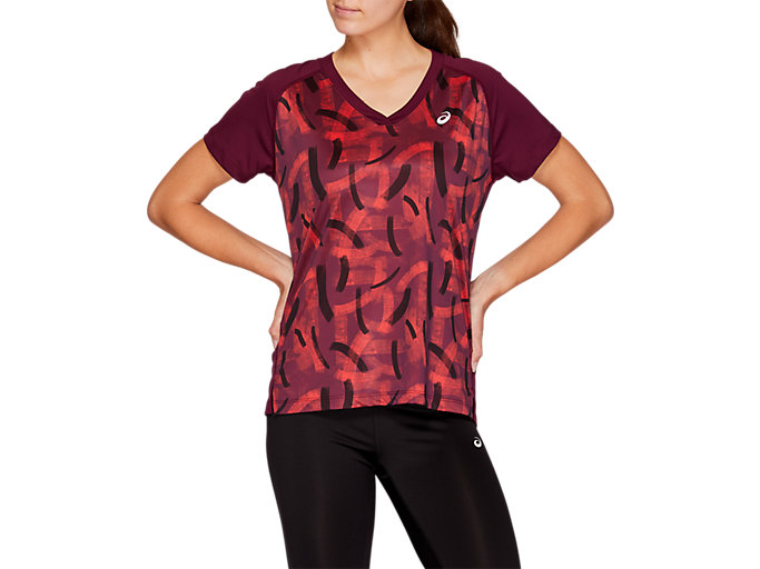Front Top view of V-NECK GPX RUN TOP, ROSELLE