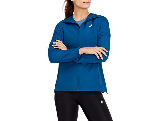 Alternative image view of RUN HOOD JACKET, MAKO BLUE