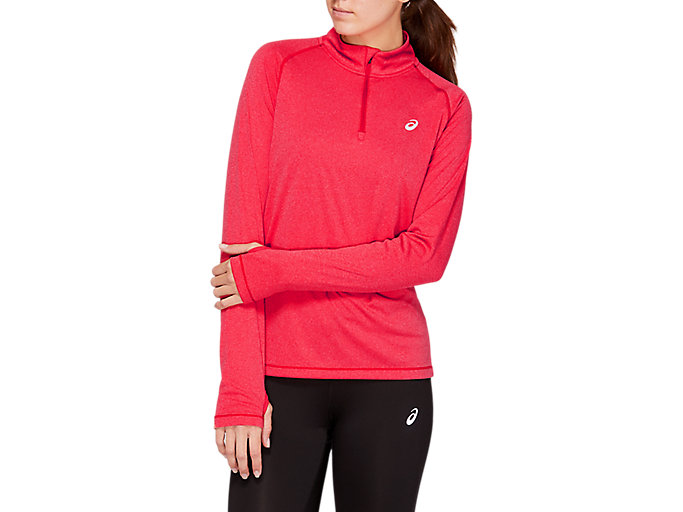 Alternative image view of LS 1/2 ZIP TOP, DIVA PINK
