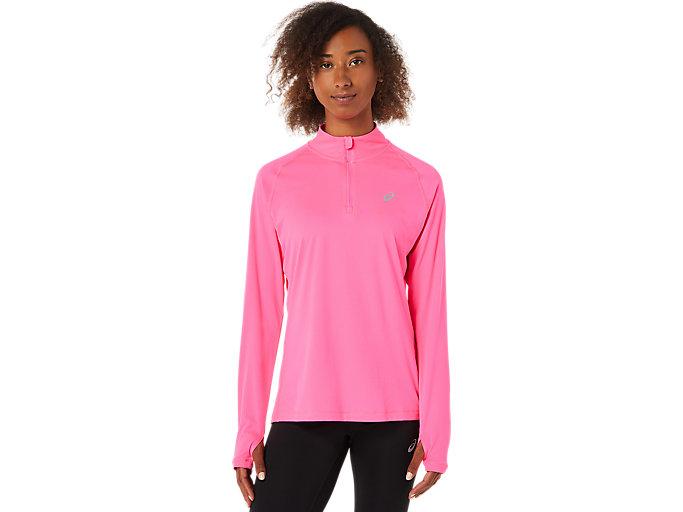 Alternative image view of LS 1/2 ZIP TOP, Hot Pink