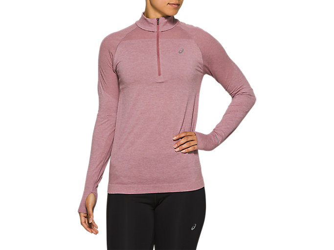Alternative image view of RACE SEAMLESS 1/2 ZIP, PURPLE OXIDE
