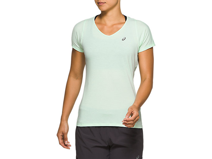 Alternative image view of V-NECK SS TOP, MINT TINT