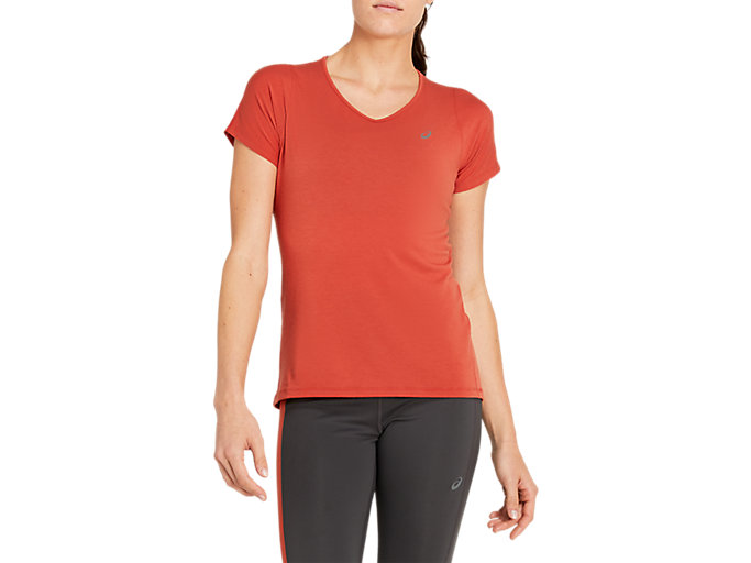 Alternative image view of V-NECK SS TOP, DRIED BERRY