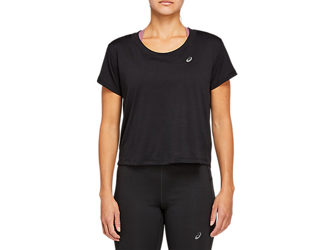 Alternative image view of RACE CROP SS TOP, Performance Black