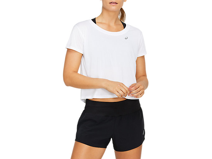 Alternative image view of RACE CROP SHORT SLEEVED TOP,  Brilliant White