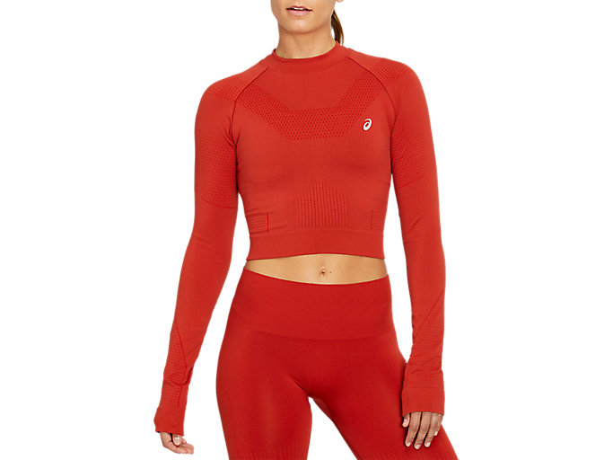 Alternative image view of SEAMLESS LS CROP TOP, Spice Latte