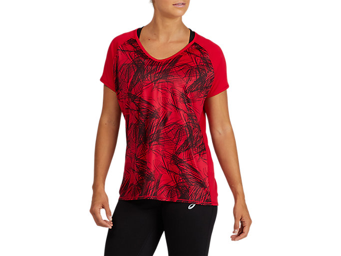Alternative image view of V-NECK GPX RUN TOP, SAMBA/ DARK GREY/ ROSELLE