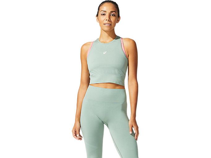 Women's SEAMLESS TOP   Slate Grey   Short Sleeve Shirts   ASICS