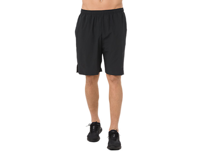 Front Top view of POWER WOVEN SHORT 9IN, PERFORMANCE BLACK