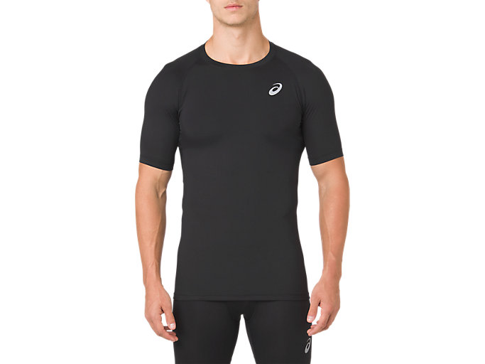 Front Top view of ASICS BASE LAYER SS TOP, PERFORMANCE BLACK