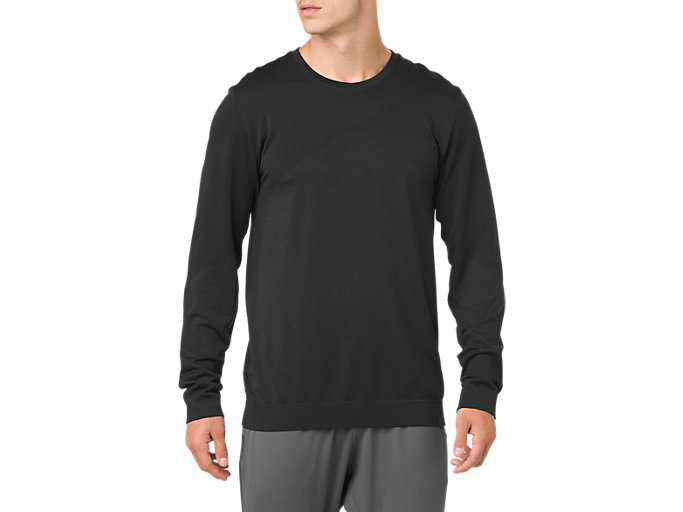 Front Top view of SEAMLESS LS CREW TOP, PERFORMANCE BLACK HEATHER