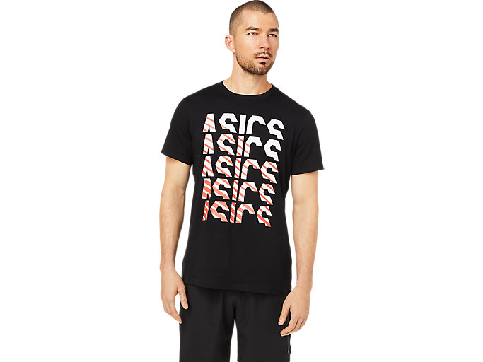 Alternative image view of GPX ASICS FADE TEE, Performance Black/White/Red Alert