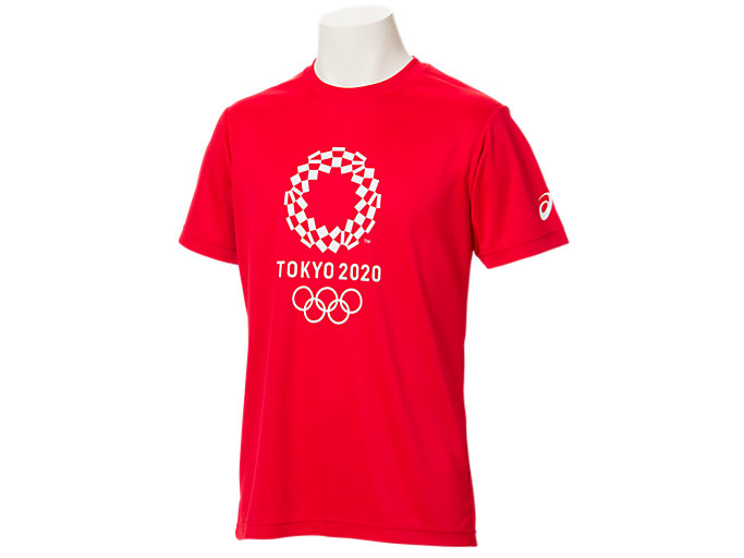 Front Top view of Tシャツ(東京2020オリンピックエンブレム), レッド