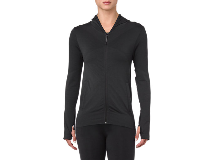 Front Top view of SEAMLESS FZ HOODIE, PERFORMANCE BLACK HEATHER