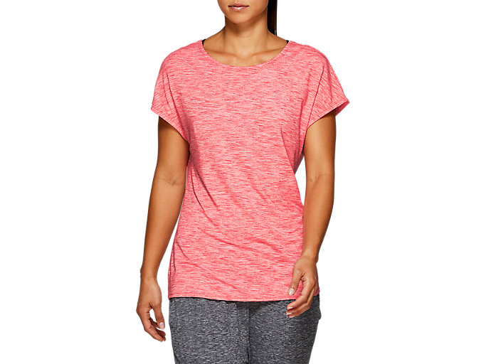 Front Top view of W SS T, LASER PINK HEATHER