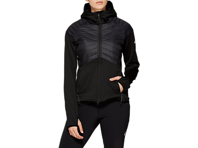 Front Top view of W HYBRID JKT, PERFORMANCE BLACK