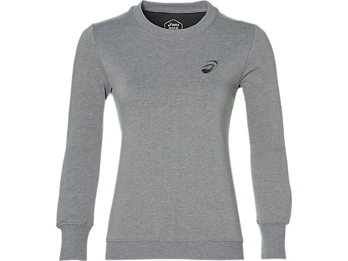 Alternative image view of ASICS CHEST LOGO CREW, MID GREY HEATHER