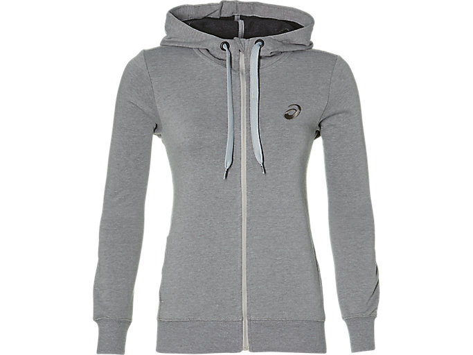 Alternative image view of ASICS CHEST LOGO FZ HOODIE, MID GREY HEATHER/