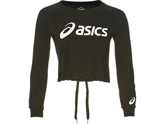 BIG ASICS CROPPED CREW PERFORMANCE BLACK/ BRILLIANT WHITE