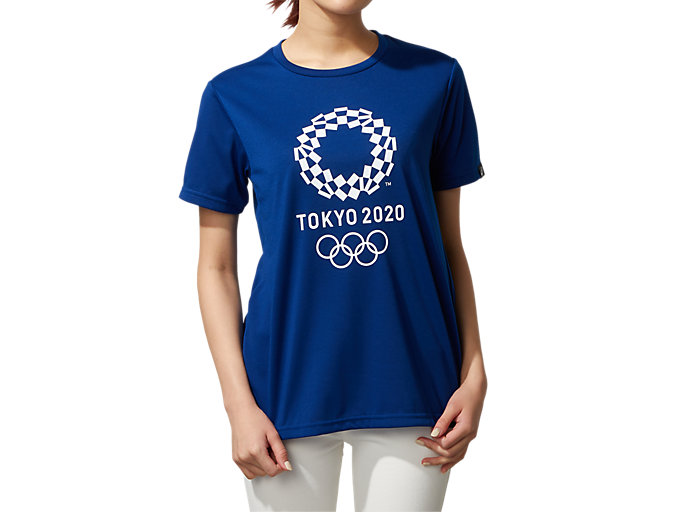 Front Top view of W'S Tシャツ(東京2020オリンピックエンブレム), EMネイビー