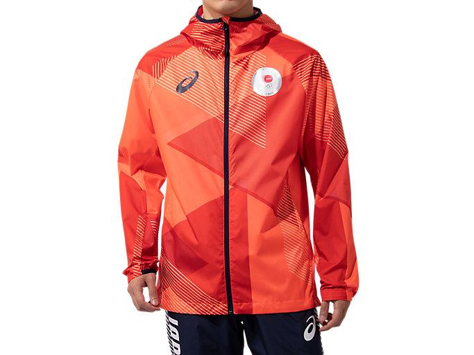 Alternative image view of ウインドジャケット(JOCエンブレム)オリンピック日本代表選手団エンブレム, サンライズレッド