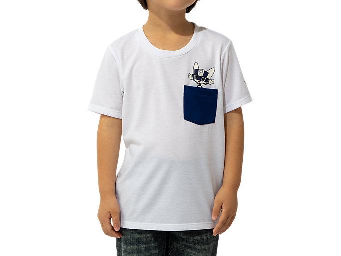 Front Top view of KIDS Tシャツ(東京2020オリンピックマスコット), ホワイト