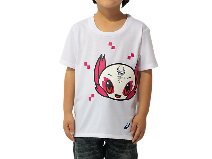 Front Top view of KIDS Tシャツ(東京2020パラリンピックマスコット), ホワイト
