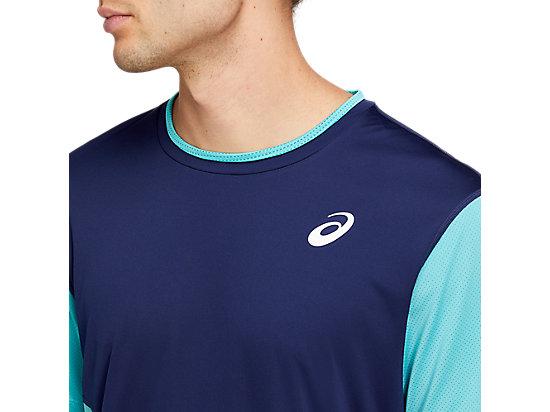 網球運動短袖T恤 PEACOAT/TECHNO CYAN