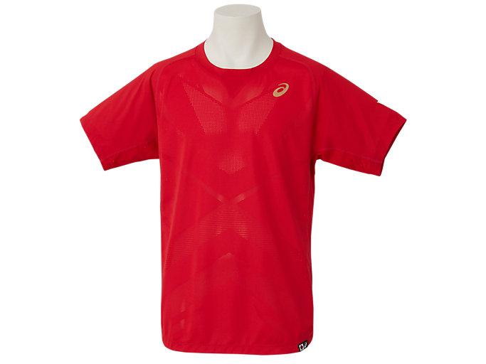 Front Top view of 早稲田テニスオーセンティックシャツ, クラッシックレッド