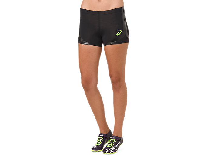 Front Top view of HOT PANT, PERFORMANCE BLACK/HAZARD GREEN