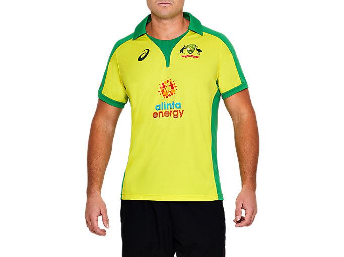 Alternative image view of CRICKET AUSTRALIA REPLICA ODI HOME SHIRT,  Blazing Yellow