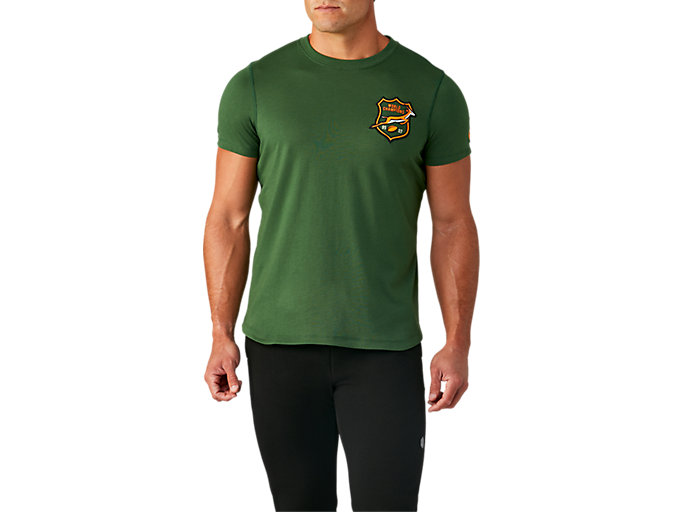 Front Top view of SB TIC TEE 2 (EMBROIDERED), OAK GREEN